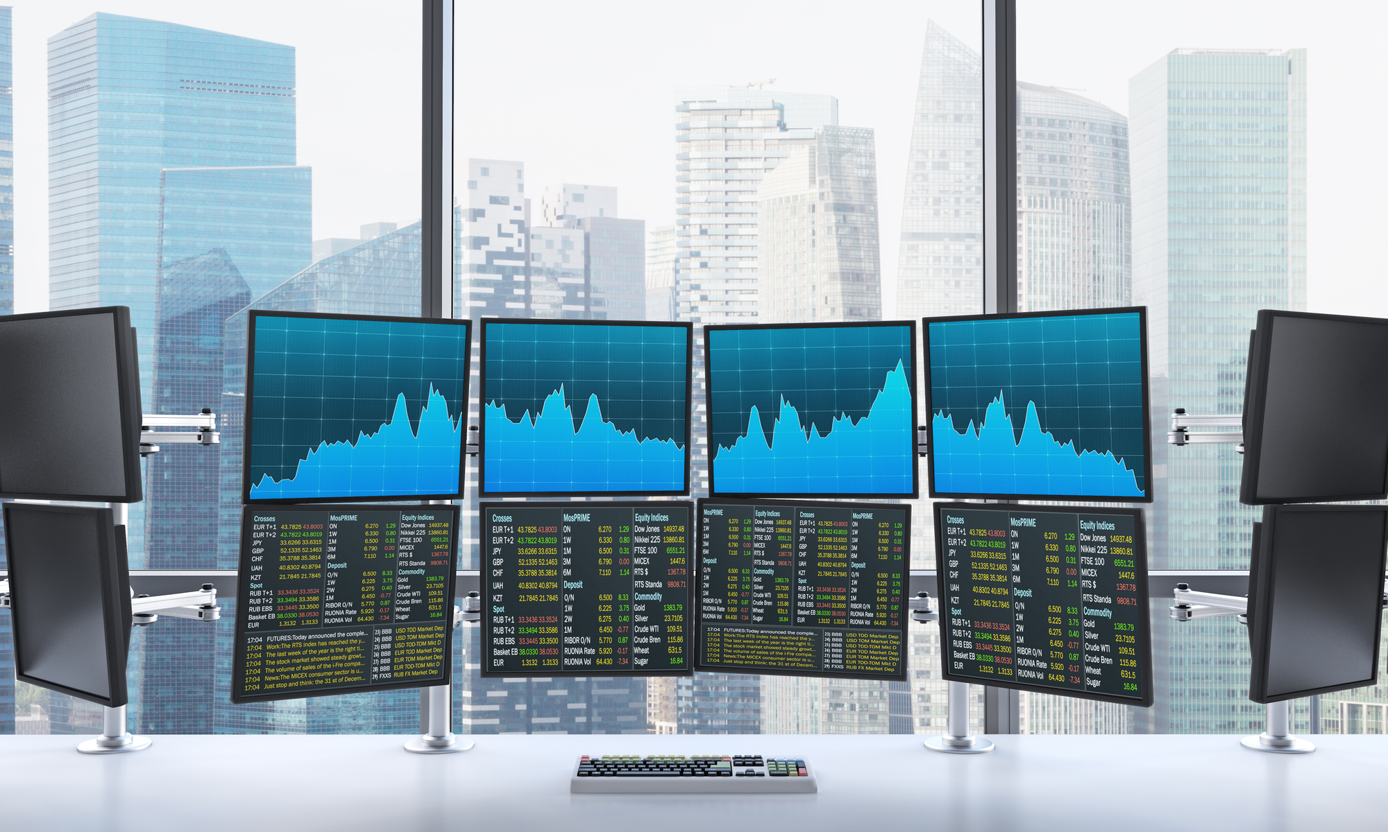 3D rendering of office with switched on monitors, processing data for trading, front view, window at the background, singapore
